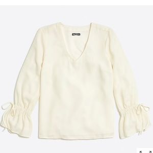 JCrew Cream Bell Sleeve with Tie Detail Top Size 4